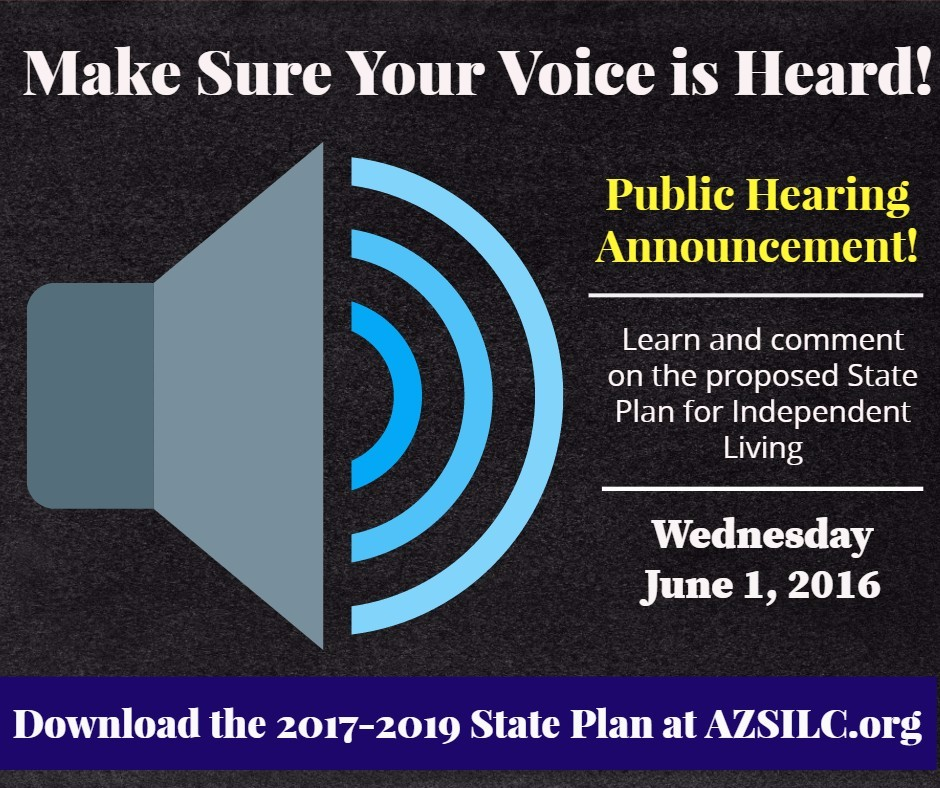 Comment on the 2017-2019 State Plan for Independent Living! Download the state plan and learn more about the public hearing here!